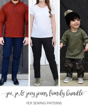 The Jo, Joe, & Joey Jeans Sewing Pattern Swipe up for the comfiest wardrobe staple everyone needs!