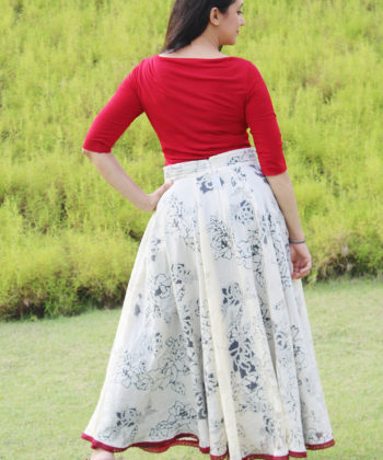 Get ready for a touch of glam with the Bettina Skirt. This long circle skirt sewing pattern gives you a simply elegant, ankle-length beauty!
