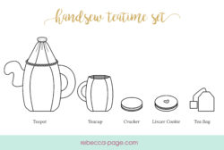 It's always a good time for a spot of tea. Get teatime started by hand stitching your little teapot, cups, and the essentials: teabags and cookies!