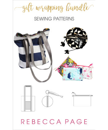 "Sew your wrapping paper! The Tote Bag, Zoe Zip Pouches, and Zip Ornaments are all brilliant and practical wrapping ""paper"" solutions. The Tote Bag makes an excellent gift bag that can be re-used over and over again. The Zip Ornaments and Zoe Zip Pouches are handy little bags for smaller gifts and storage, and perfect scrap busters too!"