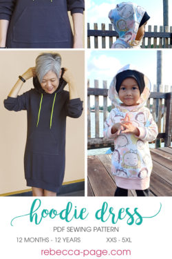 Learn how to make yourself a cute, cozy and easy-to-sew hoodie dress that is the ultimate in casual comfort. Comes in XXS to 5XL and 12 months to 12 years.