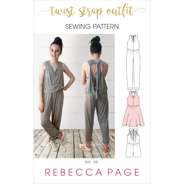 From fabric stash to cool and comfy outfit in no time! The Twist Strap Outfit gives you a ladies baggy jumpsuit sewing pattern and a bonus dress!