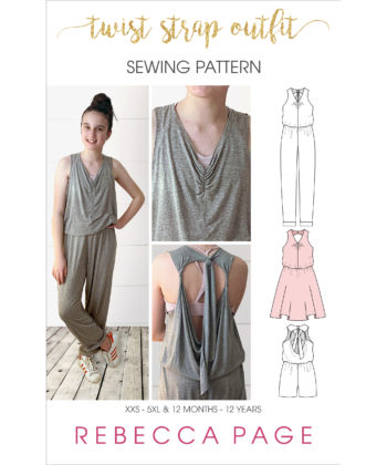 From fabric stash to cool and comfy outfit in no time! The Twist Strap Outfit gives you baggy jumpsuit sewing patterns and a bonus dress! Four outfits in 1!