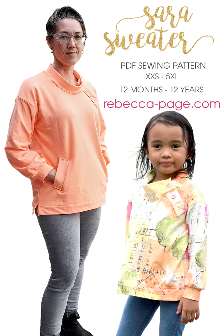 Sew yourself some cozy chic with this loose-fitting, stylish sweater! The Sara sweater sewing patterns come in XXS to 5XL and 12 months to 12 years.