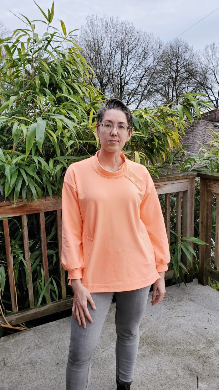 Sew yourself some cozy chic with this loose-fitting, stylish ladies sweater sewing pattern! The Sara comes in sizes XXS to 5XL.
