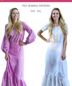 Sew yourself some glam with this beautiful, billowy dress sewing pattern! The Lantern Sleeve Maxi comes in sizes XXS to 5XL and has 3 sleeve options.