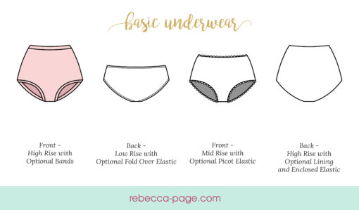 "This basic ladies panties sewing pattern takes you ""from scraps to everyday essential in a few quick seams"". They're comfy and have full bum coverage too!"