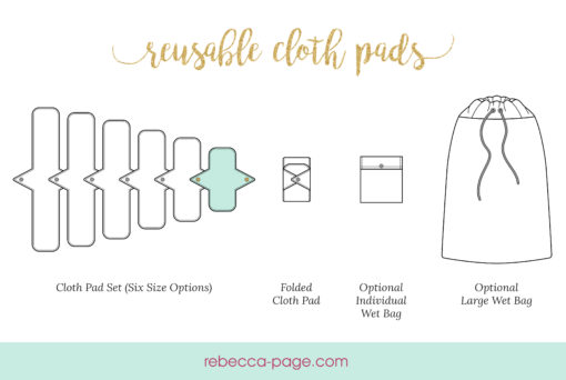 Turn your scraps into something healthy, affordable, and eco-friendly with this reusable pads sewing pattern. You also get individual and large wet bag patterns too!