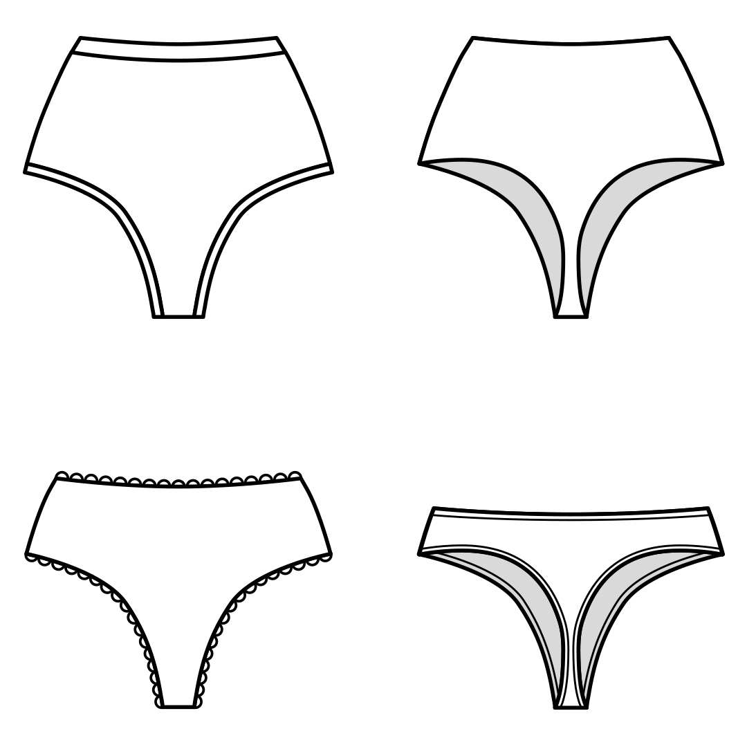 Whip up an everyday essential in a matter of minutes with this ladies thong sewing pattern. Use your knit scraps to make underwear in sizes XXS to 5XL.