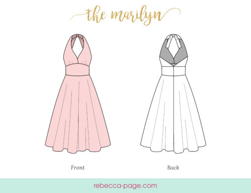 Channel retro fab with this gorgeous knee-length halter neck dress. The Marilyn is a vintage-inspired pattern for iconic style in sizes XXS to 5XL