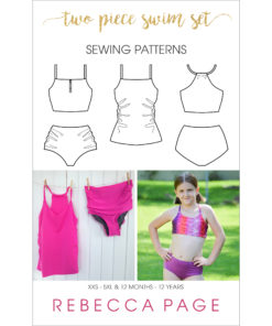 Mix and match your favorite options for a gorgeous two-piece swimsuit. This two piece swimsuit sewing pattern has a high back top and ruched bottoms.