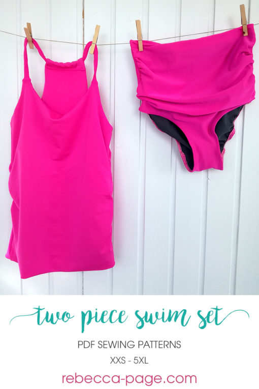 Mix and match your favorite options for a gorgeous two-piece swimsuit. This ladies two piece swimsuit sewing pattern has a high back top and ruched bottoms.