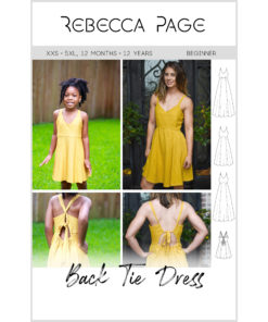 Introducing your new favorite sundress sewing pattern; a summery sew with a beautiful open back design in sizes XXS to 5XL and 12 months to 12 years.
