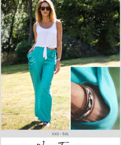 No zip and draped pockets mean this beginner-friendly wrap trousers sewing pattern sews up in a few hours. Comes in sizes XXS to 5XL
