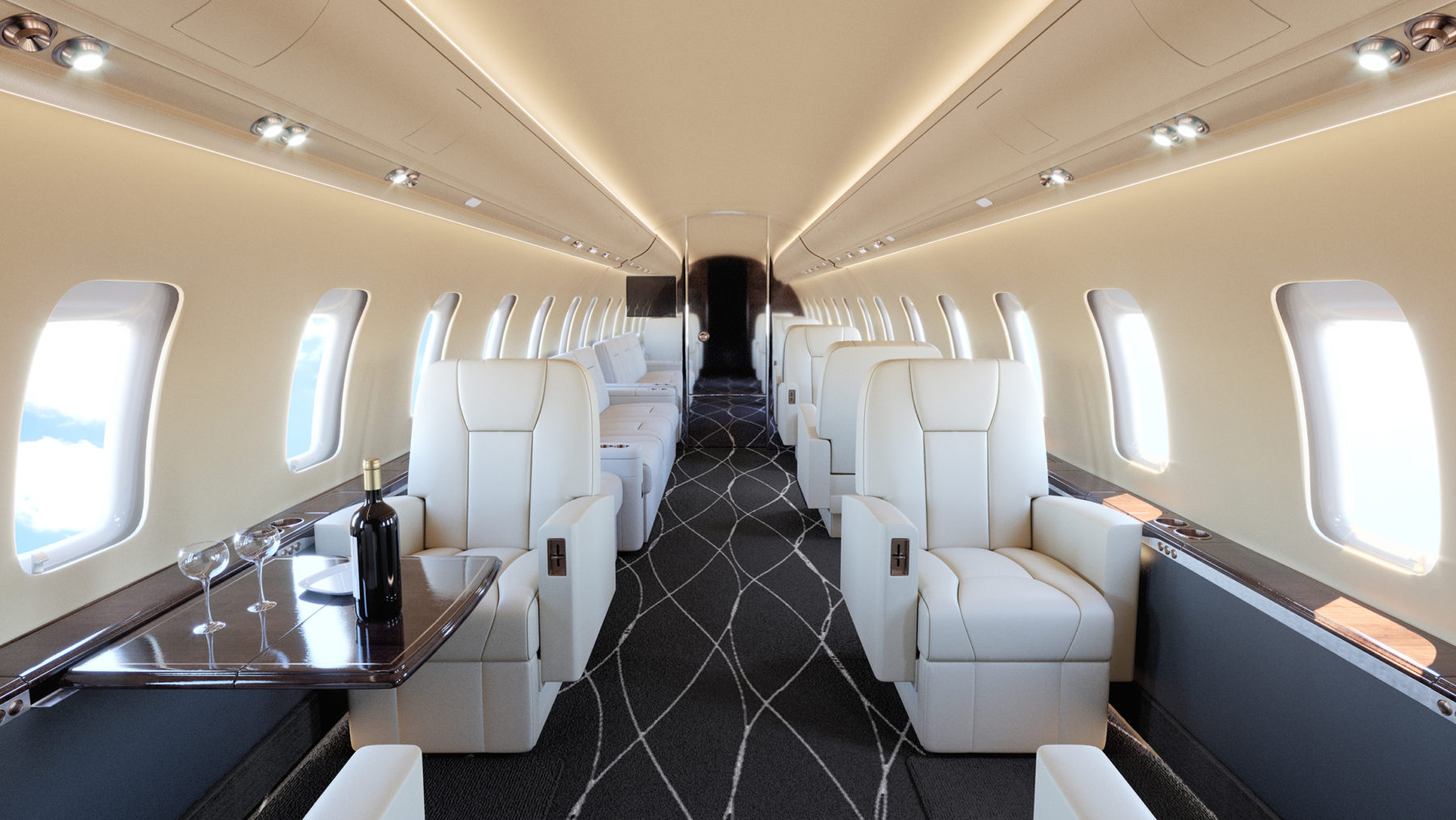 VIP Business aircraft interior 3d rendering. Rendering for private jet, Bombardier Challenger 650, interior refurbishment