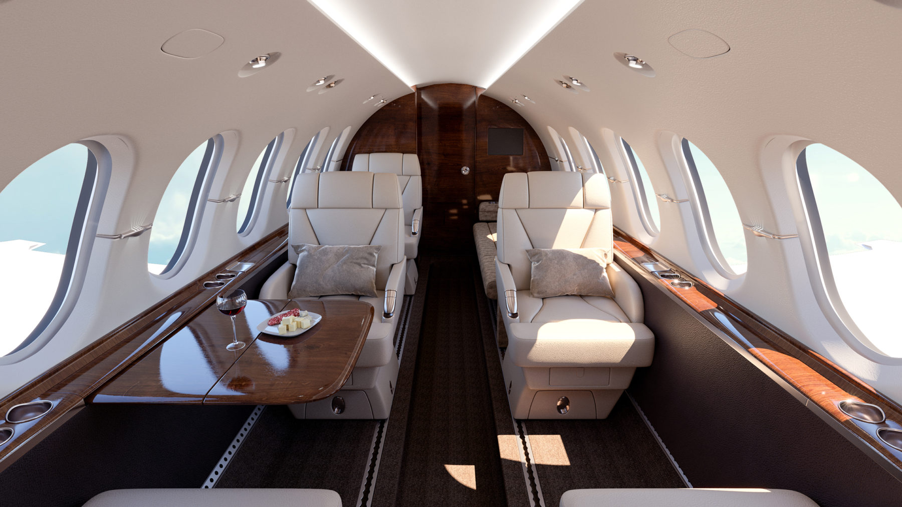 Business jet interior rendering. 3D photo-realistic rendering for a Hawker 900XP refurbishment.