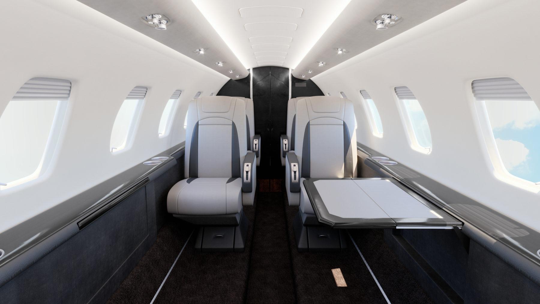 VIP Cessna Citation Encore interior rendering. Business and private aircraft interior refurbishment rendering
