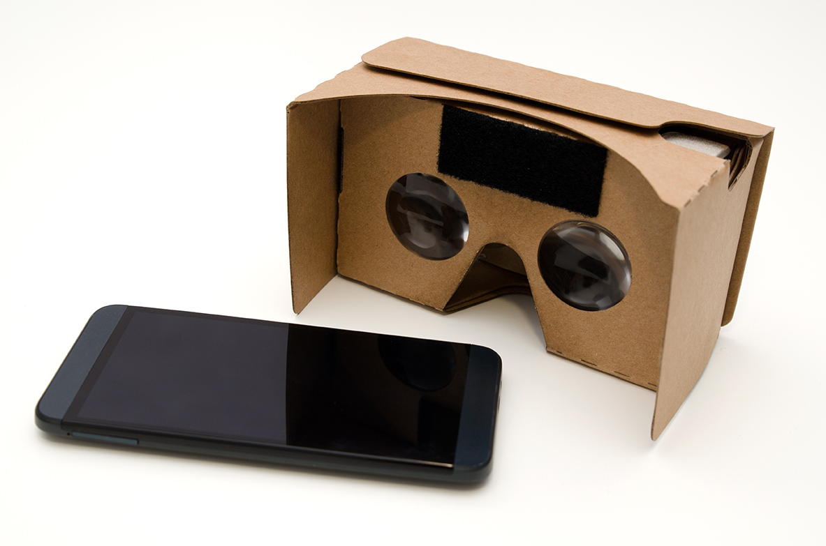 Virtual reality cardboard glasses. Easy way to watch movies and play games in 3D