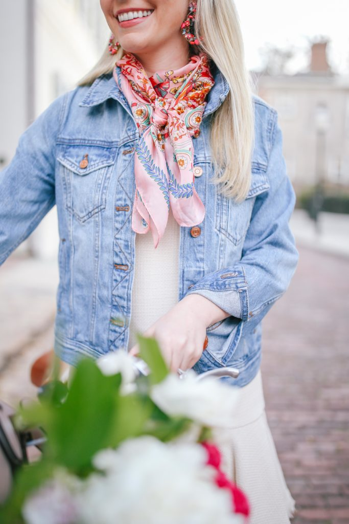 How to style a scarf with a denim jacket for summer | Rhyme & Reason