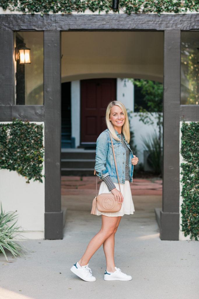 How to wear sneakers with a denim jacket | Rhyme & Reason
