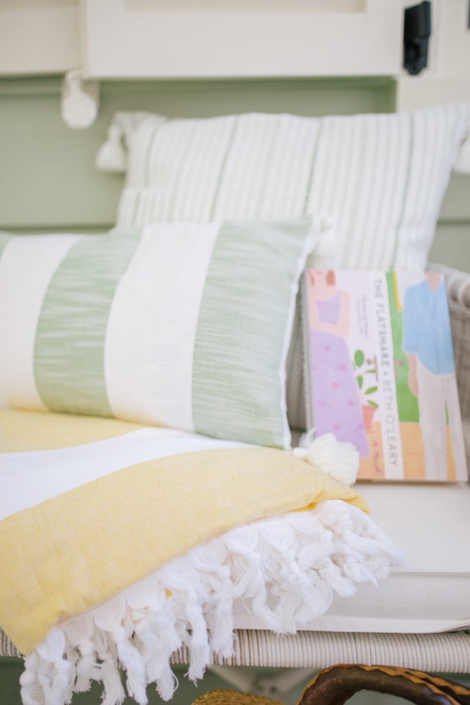 pillow with a thin green stripe
