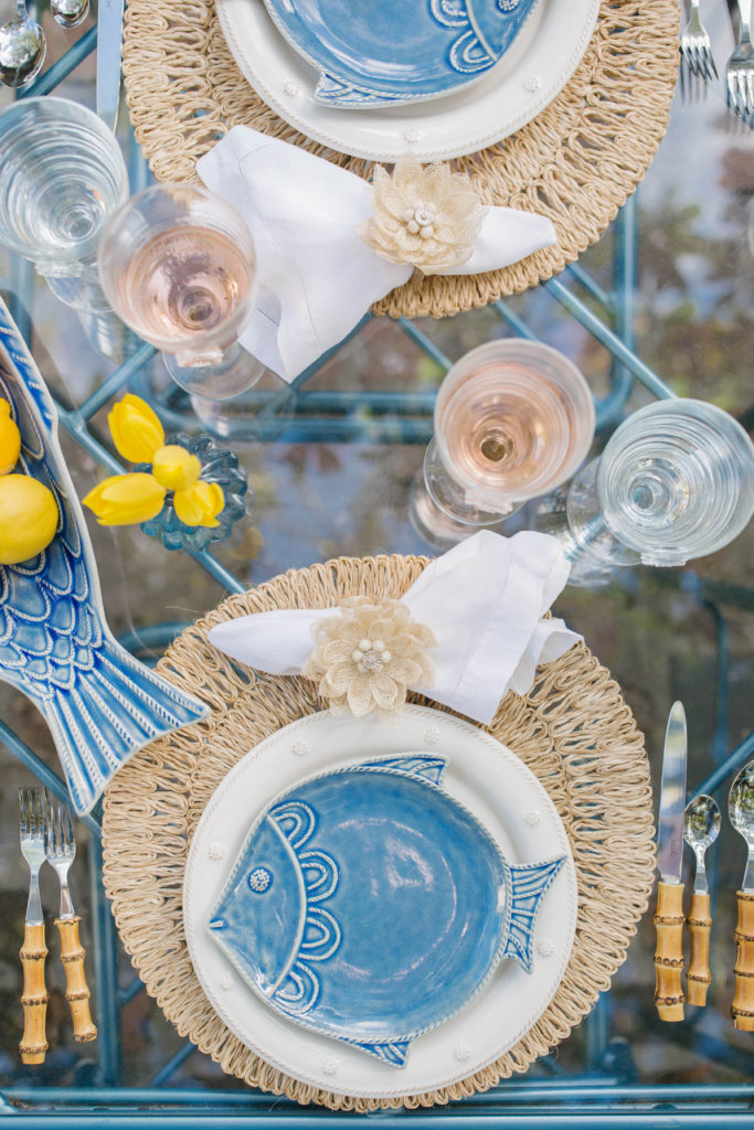 Ideas for Blue and White Coastal Beach Summer Tables | Rhyme & Reason