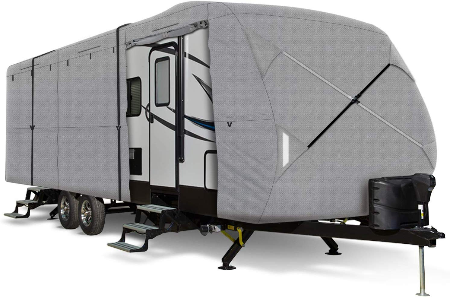 Goldline Class B RV Cover by Eevelle Waterproof Fabric Tan and Gray
