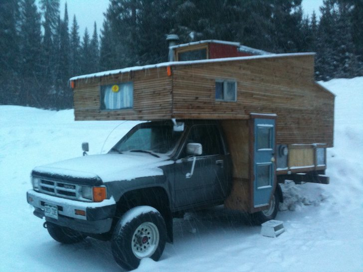 Custom Built Truck Camper Makes A Cozy Ski Chalet
