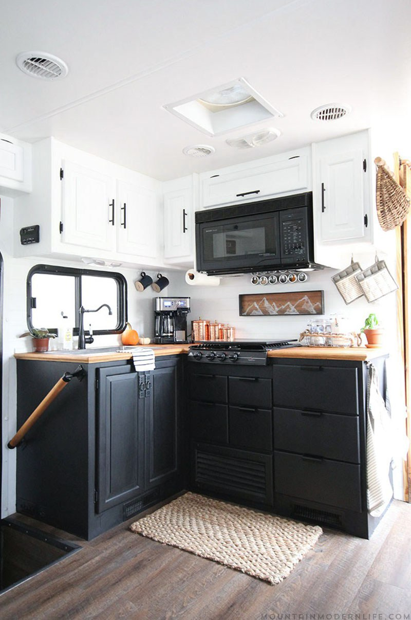 Renovation Kitchen Cabinets | Two Toned Black Kitchen Cabinets In Rv Kitchen Renovation
