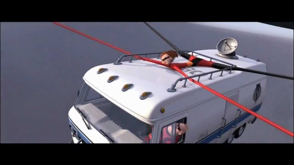 Still frame of The Incredibles movie with a flying RV