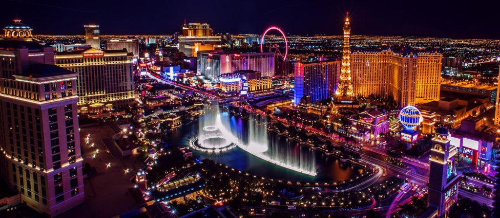 Bright lights of Las Vegas at night