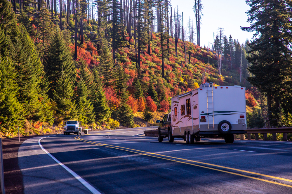 RV driving in fall