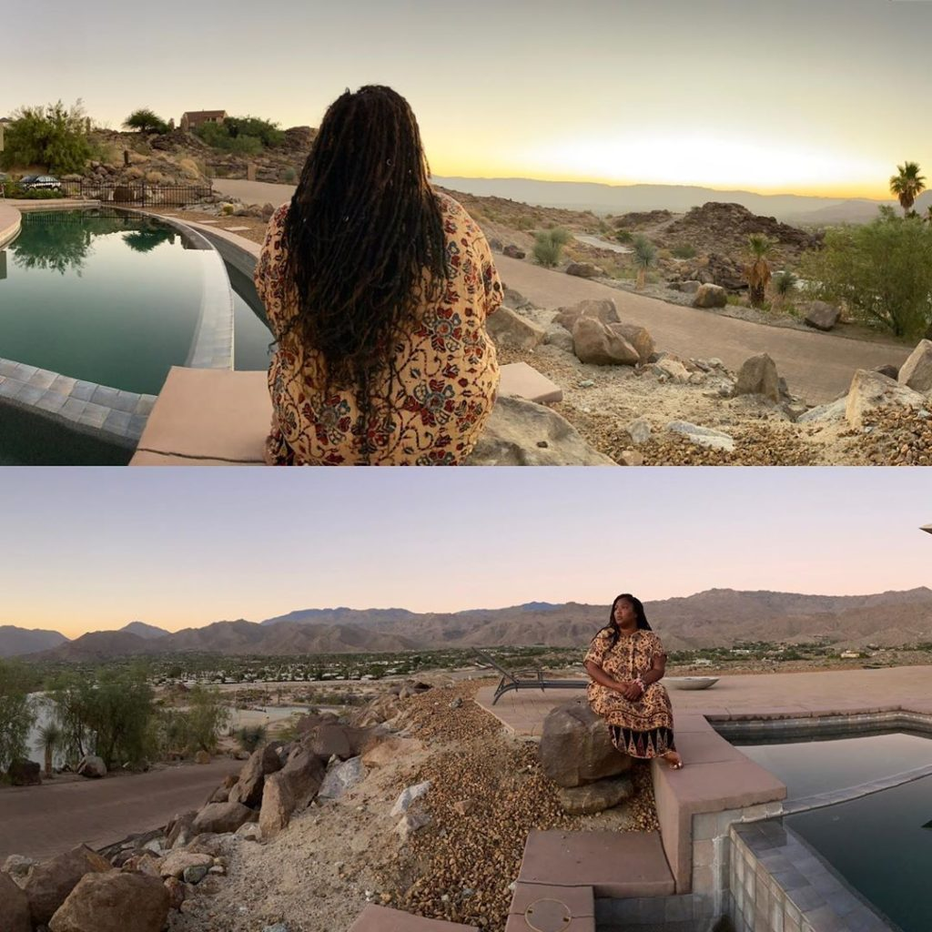 Collage of two images: the top show the back of singer Lizzo as she sits on the edge of a pool looking out into a desert sunset. The bottom image she is in the same position but she now faces the camera.