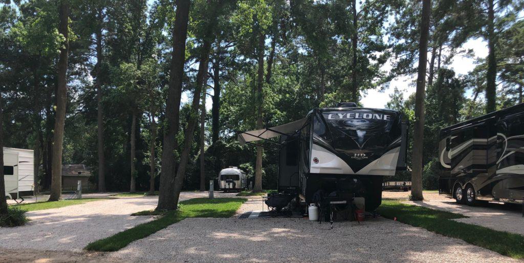 RVs set up at RV campsite