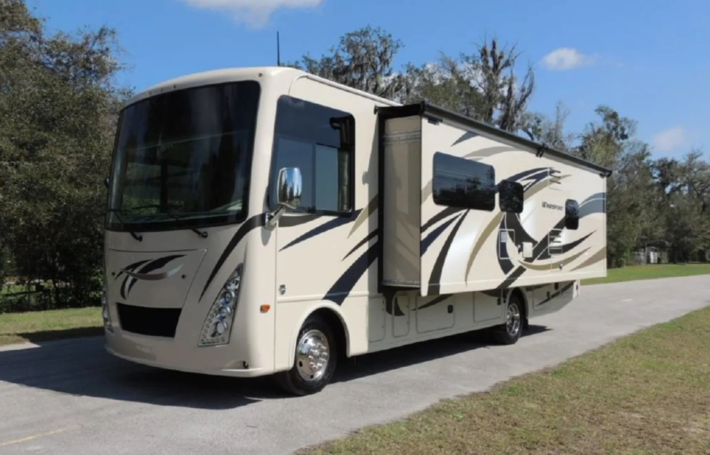 Class A motorhome with side slide-out extended