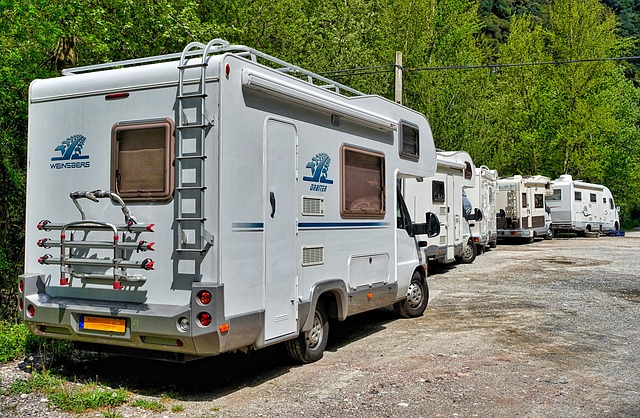 back of motorhome with exterior RV ladder to roof