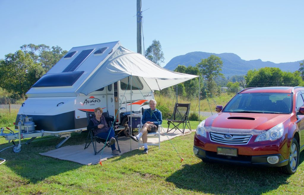 Campsite With RV Outdoor Rugs