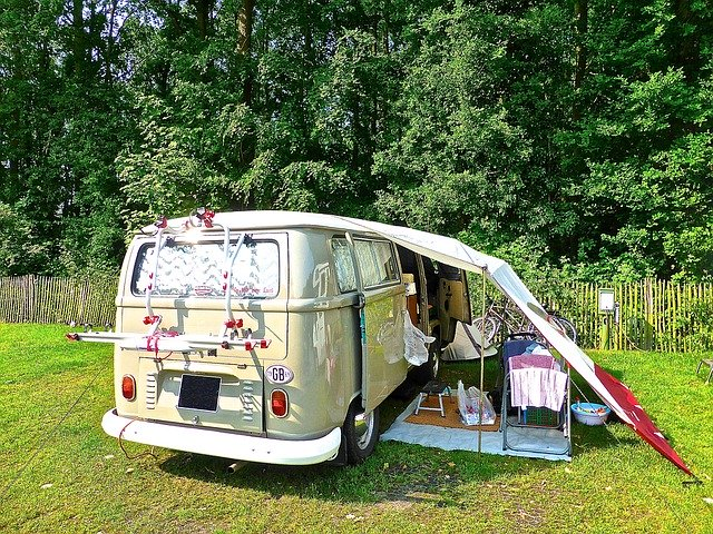 a campervan set up and ready for camping