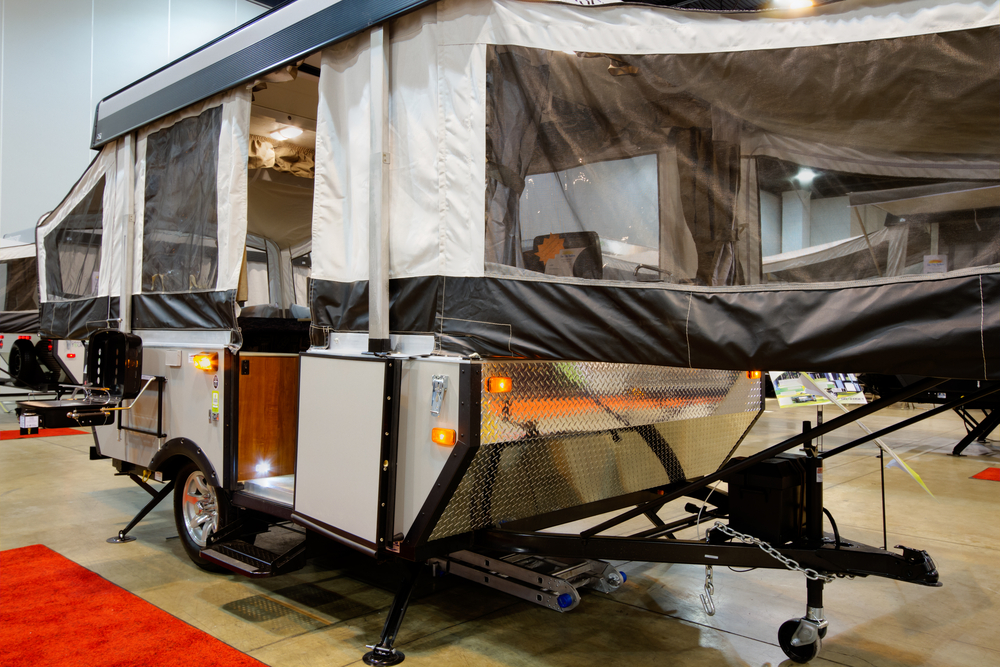 Parked and set up hybrid RV