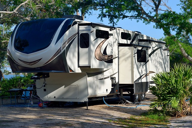 trailer parked and camped at a campsite
