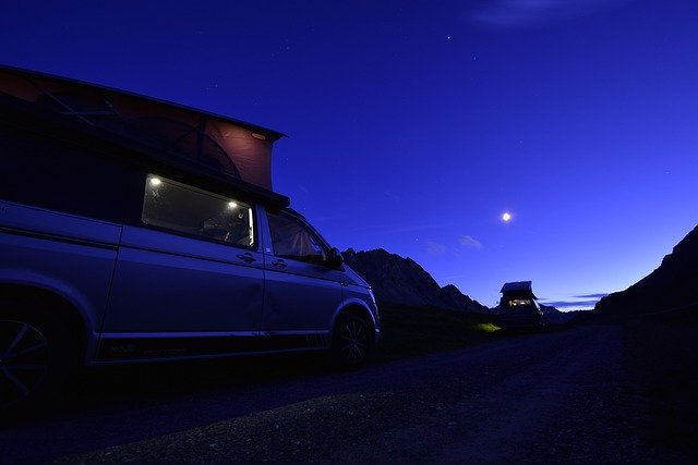 camper set up at night
