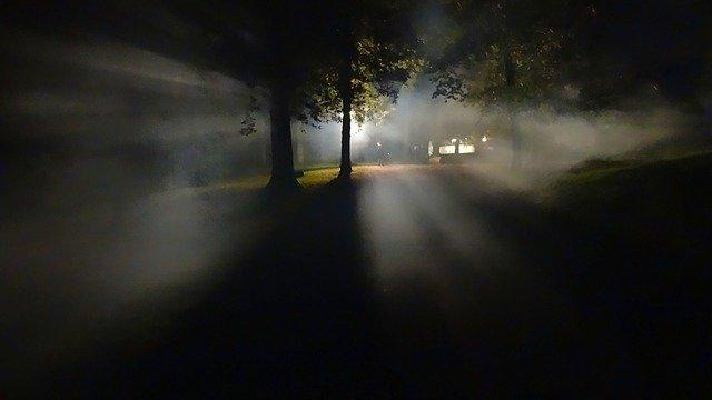 foggy, creepy evening with strange lights
