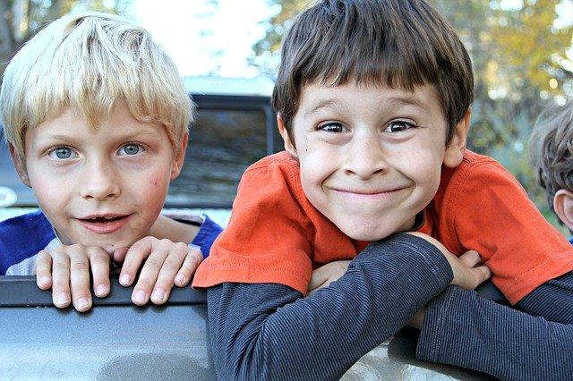 boys grinning