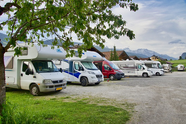 a line of RVs parked in a row