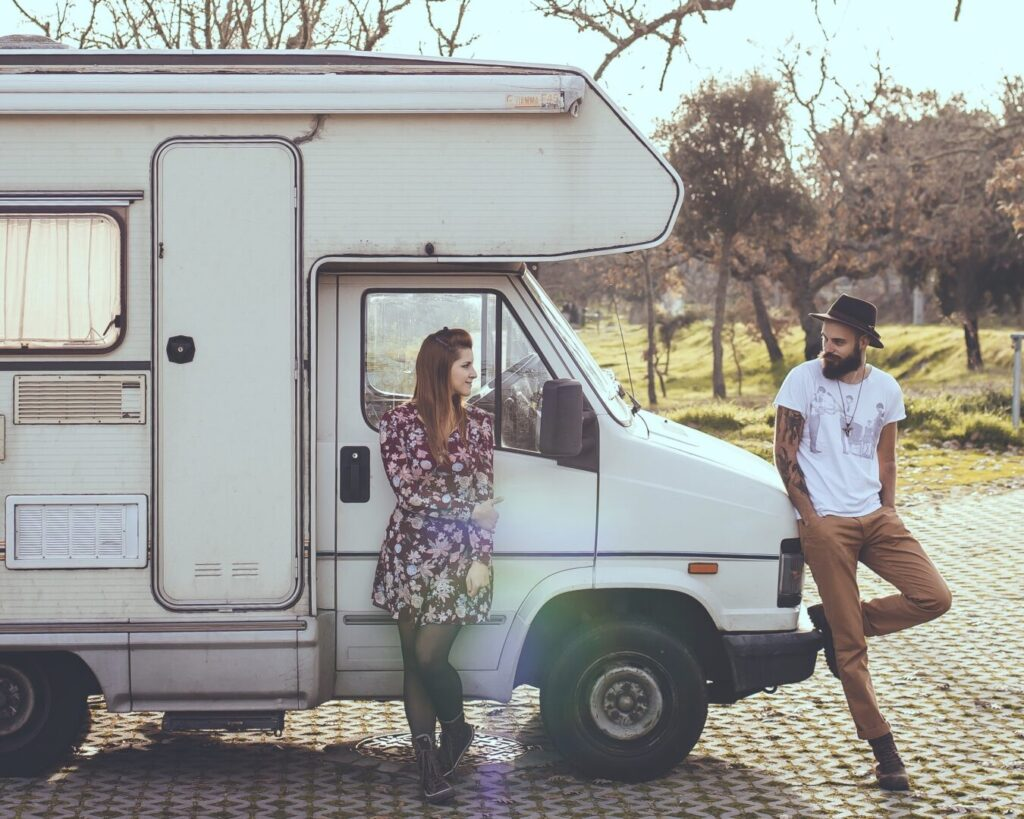 Couple outside of their RV