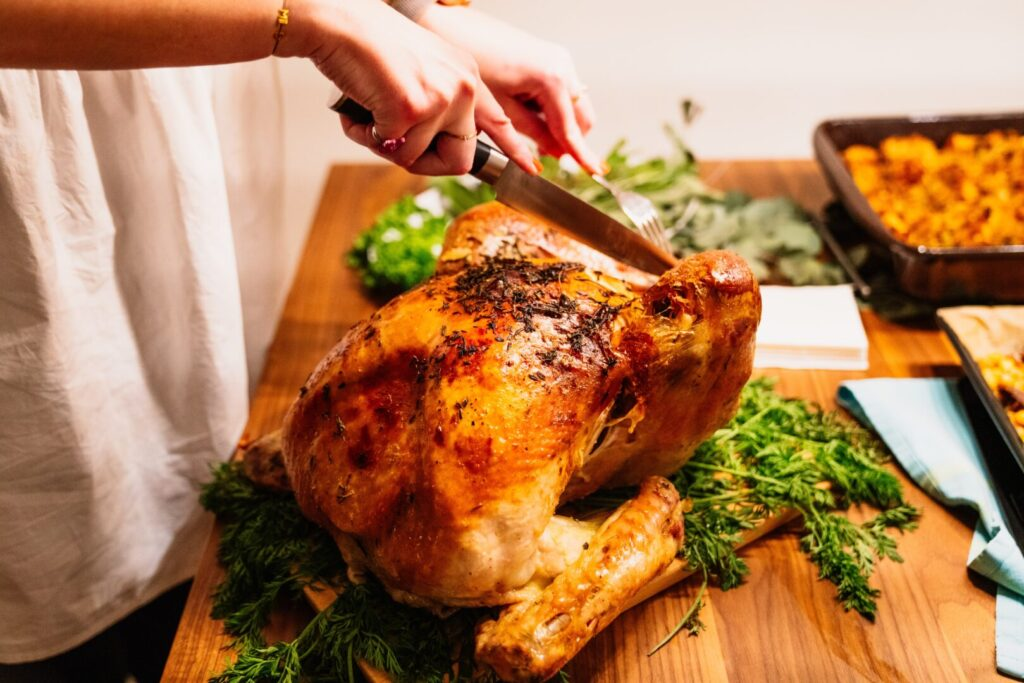 carving a Thanksgiving turkey