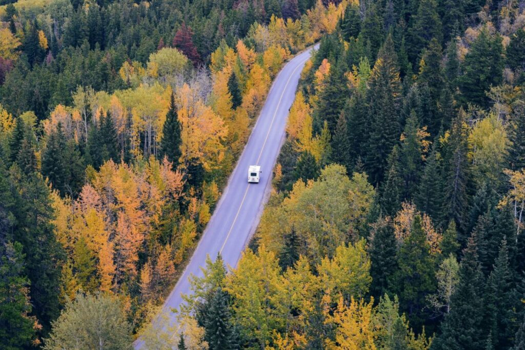 RV traveling a tree-lined fall road