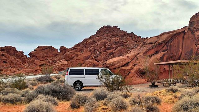 a campervan in a desert camping spot