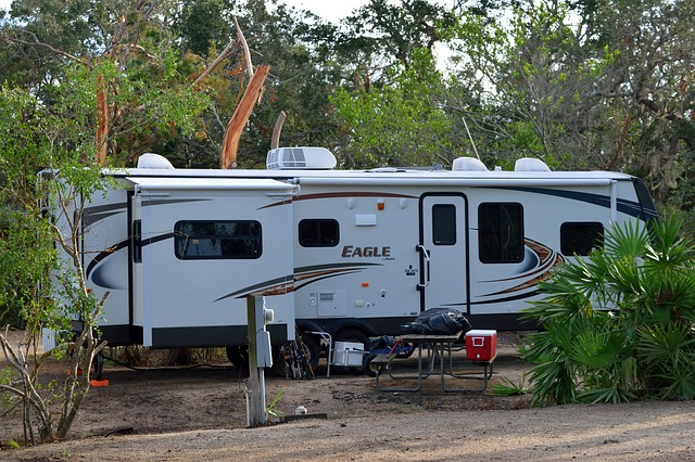 an RV set up for camping