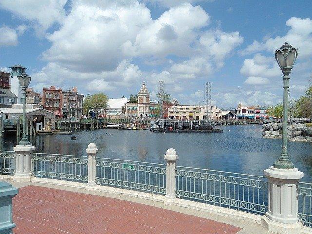 view across the lake at Universal Studios